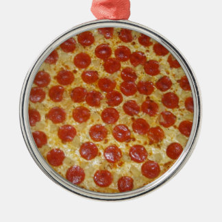 Pizza Round Metal Christmas Ornament