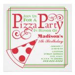 Pizza Party Birthday Custom Invite