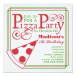 Pizza Party Birthday 5.25x5.25 Square Paper Invitation Card