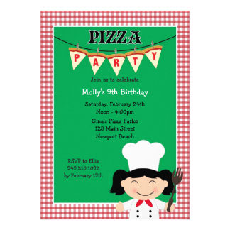 Pizza Party Birthday Invitation for Girl
