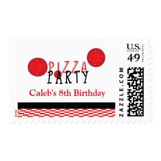 Pizza Party Birthday Invitation Postage Stamp