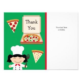 Pizza Party Birthday Thank You Card Personalized Invites