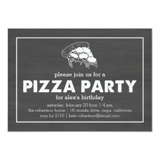 Pizza Party Black & White Chalkboard Birthday Card