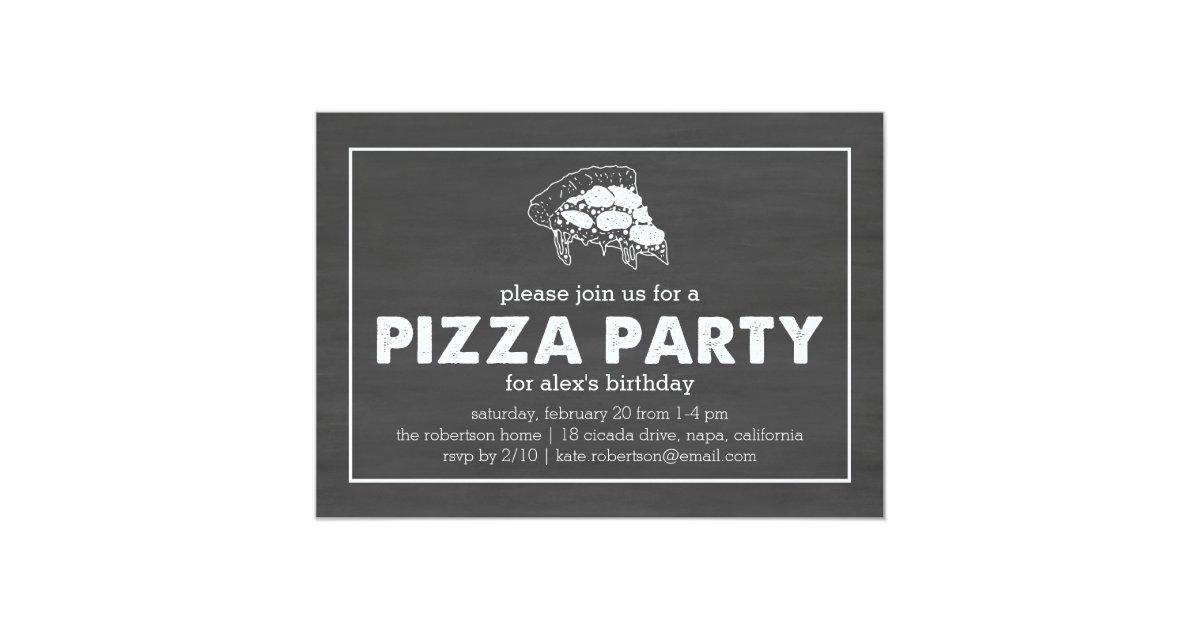 Pizza Party Black & White Chalkboard Birthday Invitation   Zazzle.com