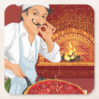 Pizza Party Chef Paper Coaster - SRF Square Paper Coaster