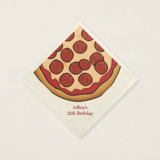 Pizza Party Custom Paper Napkins