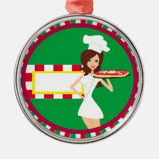 Pizza Party Decoration Round Metal Christmas Ornament