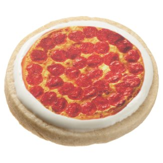 Pizza Party Favors Round Shortbread Cookie