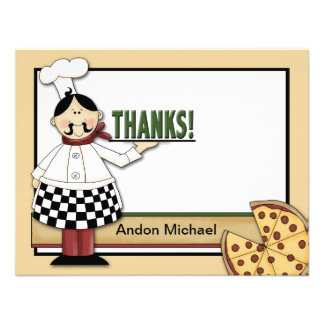 Pizza Party Flat Thank You Card Personalized Announcements