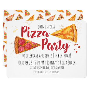 kids pizza party invitations zazzle