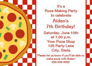 pizza party invitations zazzle