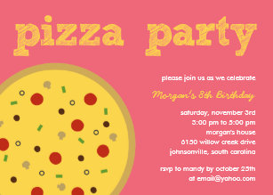 Adult pizza party invitations announcements zazzle pizza party invitation pink stopboris Images