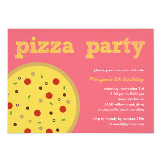 pizza party invitation pink - Pizza Party Invitation