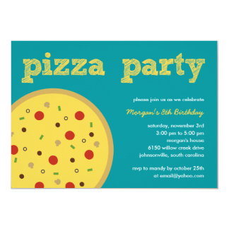 Pizza Party Invitation (Turquoise)