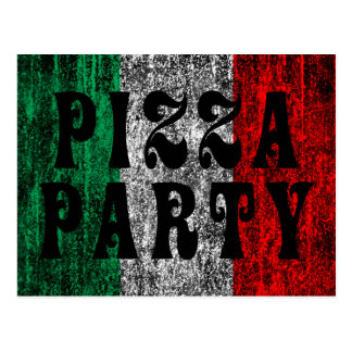 pizza party (italian flag) postcard