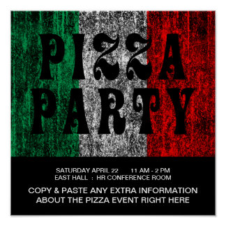 pizza party (italian flag) poster