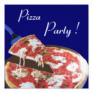 PIZZA PARTY, ITALIAN KITCHEN dinner, brunch,blue Custom Announcements