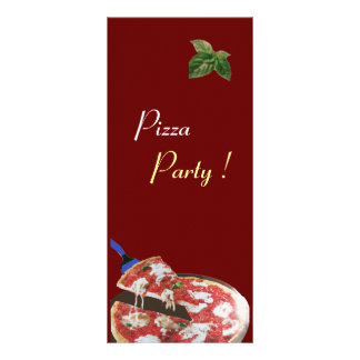 PIZZA PARTY ITALIAN KITCHEN, RESTAURANT red green Personalized Rack Card