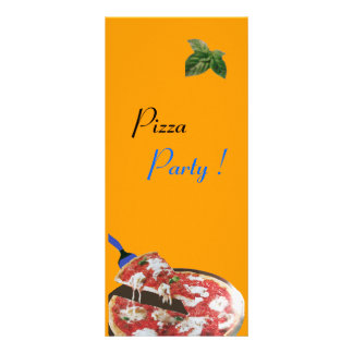 PIZZA PARTY ITALIAN KITCHEN, RESTAURANT red green Rack Card Design