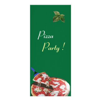 PIZZA PARTY ITALIAN KITCHEN, RESTAURANT red green Customized Rack Card