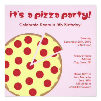 Pizza Party Kids Birthday Invitation - Pink