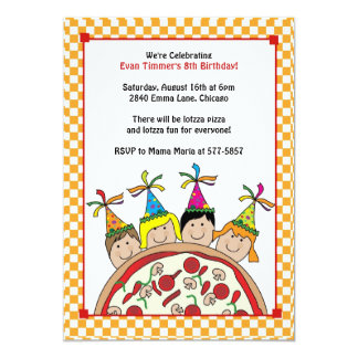 kids pizza party invitations  announcements  zazzle, Party invitations