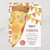 Pizza Party Kids Watercolor Birthday Invitation