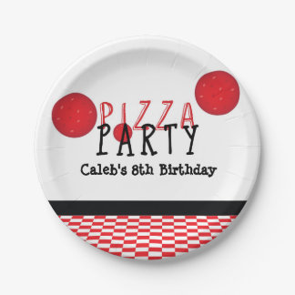 Pizza Party Pepperoni Custom Birthday Party Plates