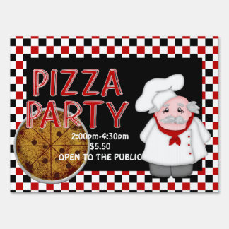 Pizza Party -Personalized Sign, medium Lawn Sign