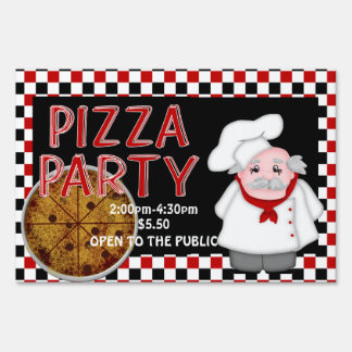 Pizza Party -Personalized Sign, small Yard Sign