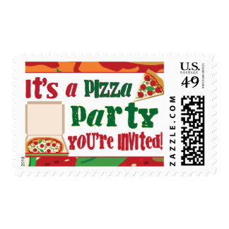 Pizza Party Postage Stamp
