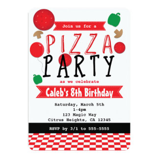 Pizza Party Red Black & White Birthday Invitations