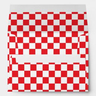 Pizza Party Red White Checker Invitation Envelopes