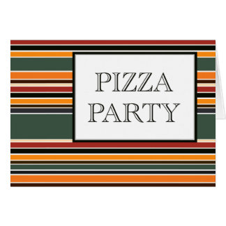 pizza party stripes card