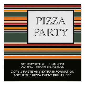 pizza party stripes poster