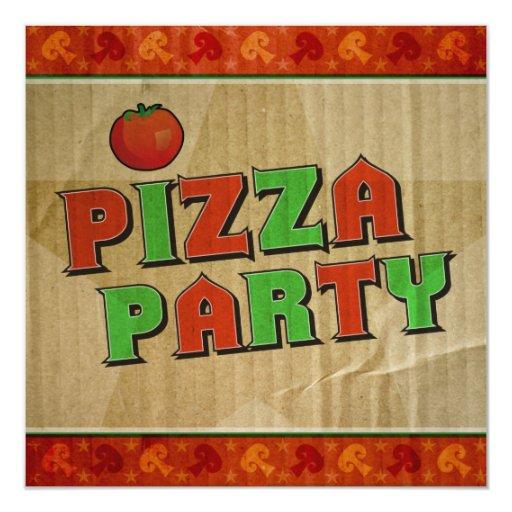 Pizza Party Takeout Box Celebration Invitation
