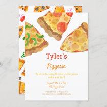 Pizza Party Watercolor Birthday Invitation