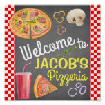 Hand shaped Pizza Party Welcome Sign Poster