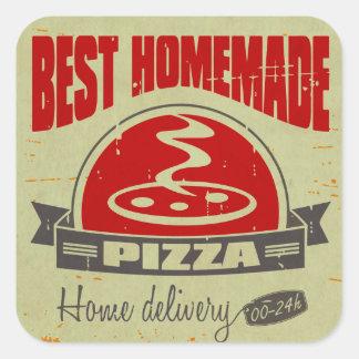 Pizza Pegatina Cuadrada