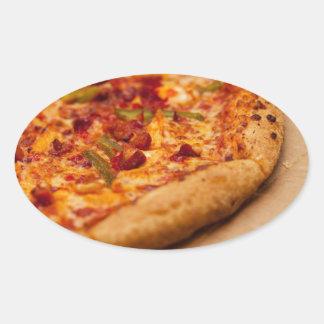 Pizza photo oval sticker