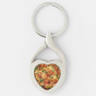 pizza llavero plateado en forma de corazón