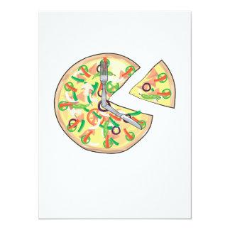 Pizza Pie Clock Custom Invite