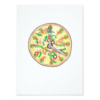Pizza Pie Clock Invitations