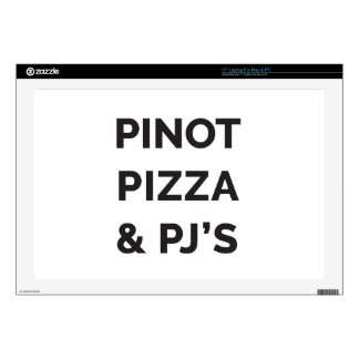 """Pizza, Pinot and PJ's Funny Wine Print 17"""" Laptop Skin"""