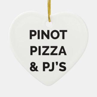 Pizza, Pinot and PJ's Funny Wine Print Ceramic Ornament