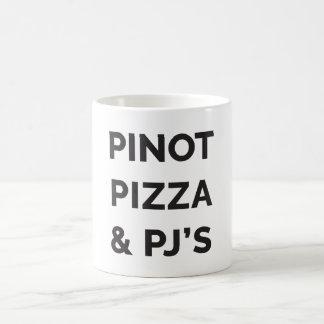 Pizza, Pinot and PJ's Funny Wine Print Coffee Mug