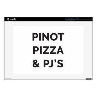 """Pizza, Pinot and PJ's Funny Wine Print Skin For 15"""" Laptop"""