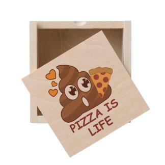 Pizza Poop Life Wooden Keepsake Box