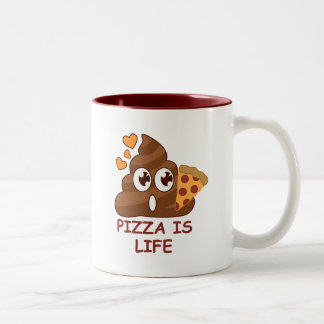 Pizza Poop Lover Two-Tone Coffee Mug