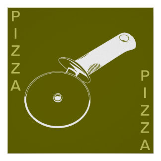 PIZZA poster(Olive and White w/ words or without) Poster